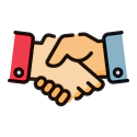 two people shaking hands graphic