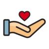 hand holding a cartoon heart graphic